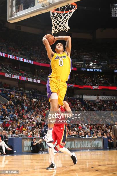 Kyle Kuzma of the Los Angeles Lakers drives to the basket against the New Orleans Pelicans on February 14 2018 at the Smoothie King Center in New...