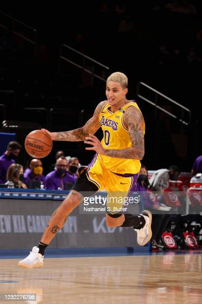 Kyle Kuzma of the Los Angeles Lakers drives to the basket during the game against the New York Knicks on April 12, 2021 at Madison Square Garden in...