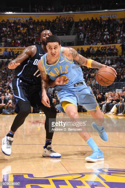 Kyle Kuzma of the Los Angeles Lakers drives to the basket during the game against the Orlando Magic at STAPLES Center on March 7 2017 in Los Angeles...