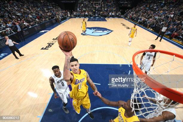 Kyle Kuzma of the Los Angeles Lakers dunks against the Memphis Grizzlies on January 15 2018 at FedExForum in Memphis Tennessee NOTE TO USER User...
