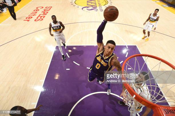 Kyle Kuzma of the Los Angeles Lakers dunks the ball against the New Orleans Pelicans on February 27 2019 at STAPLES Center in Los Angeles California...