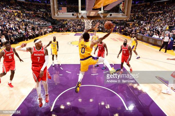 Kyle Kuzma of the Los Angeles Lakers dunks the ball against the Houston Rockets on October 20 2018 at STAPLES Center in Los Angeles California NOTE...