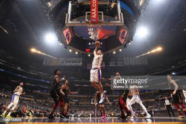 Kyle Kuzma of the Los Angeles Lakers dunks the ball against the Cleveland Cavaliers on January 13 2019 at STAPLES Center in Los Angeles California...