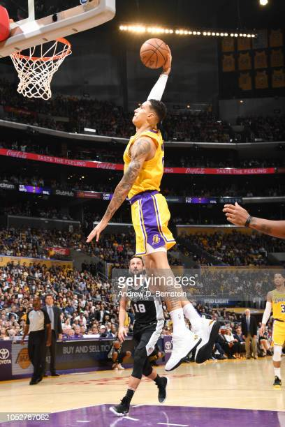 Kyle Kuzma of the Los Angeles Lakers dunks the ball against the San Antonio Spurs on October 22 2018 at STAPLES Center in Los Angeles California NOTE...