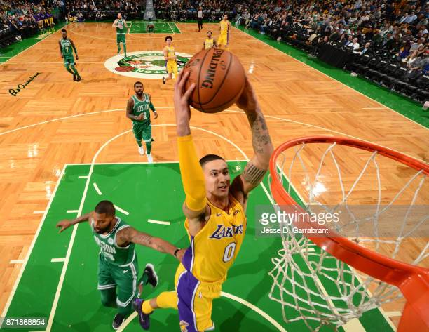 Kyle Kuzma of the Los Angeles Lakers dunks the ball during the game against the Boston Celtics on November 8 2017 at the TD Garden in Boston...