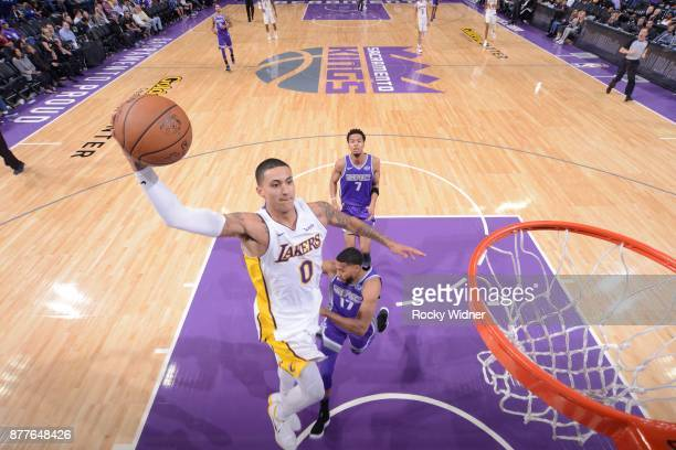 Kyle Kuzma of the Los Angeles Lakers dunks the ball during the game against the Sacramento Kings on November 22 2017 at Golden 1 Center in Sacramento...