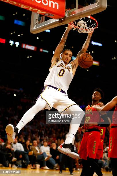 Kyle Kuzma of the Los Angeles Lakers dunks the ball during the second half of a game againstthe Atlanta Hawks at Staples Center on November 17, 2019...