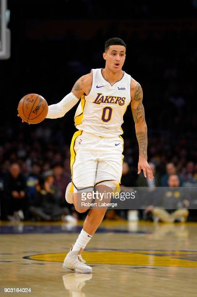Kyle Kuzma of the Los Angeles Lakers during the game against the Atlanta Hawks on January 7 2018 at STAPLES Center in Los Angeles California NOTE TO...