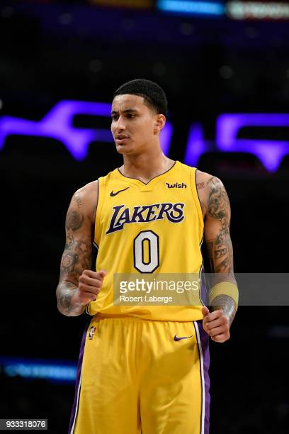 Kyle Kuzma of the Los Angeles Lakers during the game against the Denver Nuggets on March 13 2018 at STAPLES Center in Los Angeles California NOTE TO...