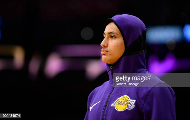 Kyle Kuzma of the Los Angeles Lakers during warm up before the game against the Atlanta Hawks on January 7 2018 at STAPLES Center in Los Angeles...