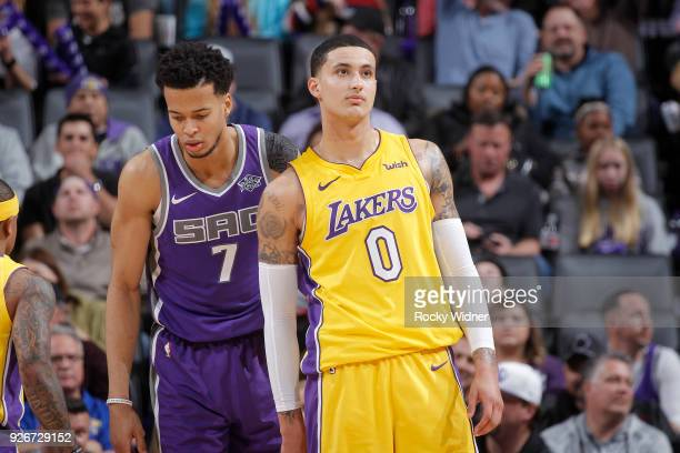 Kyle Kuzma of the Los Angeles Lakers faces off against Skal Labissiere of the Sacramento Kings on February 24 2018 at Golden 1 Center in Sacramento...