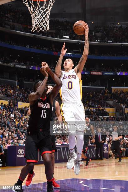 Kyle Kuzma of the Los Angeles Lakers goes for a layup against the Houston Rockets on December 3 2017 at STAPLES Center in Los Angeles California NOTE...