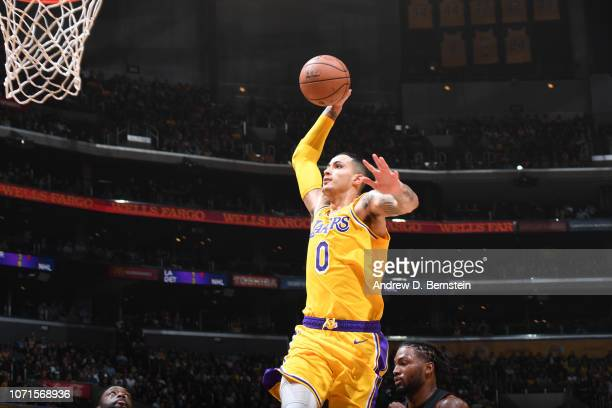 Kyle Kuzma of the Los Angeles Lakers goes to the basket against the Miami Heat on December 10 2018 at STAPLES Center in Los Angeles California NOTE...