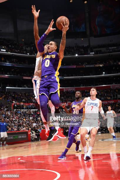 Kyle Kuzma of the Los Angeles Lakers goes to the basket against the LA Clippers on November 27 2017 at STAPLES Center in Los Angeles California NOTE...