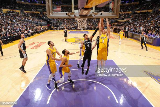 Kyle Kuzma of the Los Angeles Lakers grabs the rebound against the San Antonio Spurs on January 11 2018 at STAPLES Center in Los Angeles California...