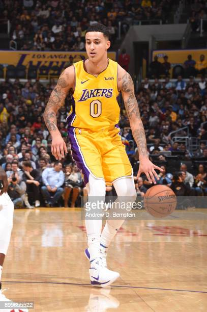 Kyle Kuzma of the Los Angeles Lakers handles the ball against the LA Clippers on December 29 2017 at STAPLES Center in Los Angeles California NOTE TO...