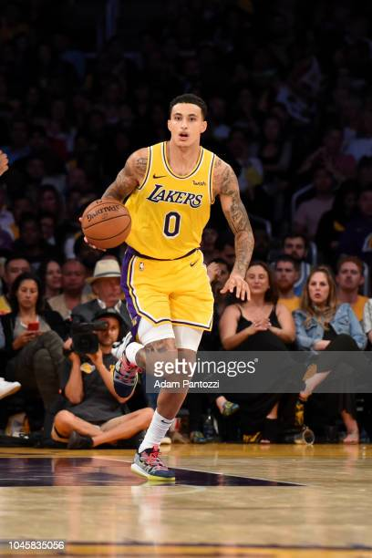 Kyle Kuzma of the Los Angeles Lakers handles the ball against the Sacramento Kings during a preseason game on October 4 2018 at Staples Center in Los...
