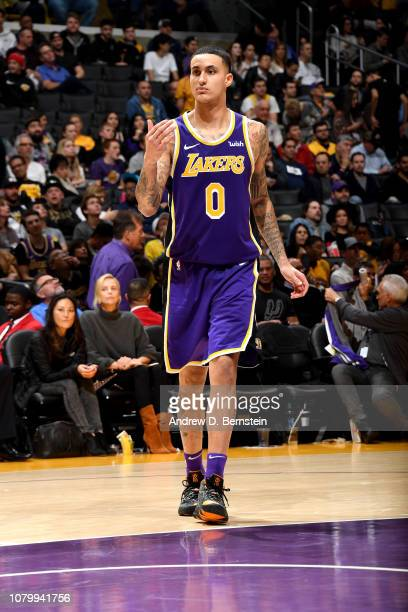 Kyle Kuzma of the Los Angeles Lakers handles the ball against the Detroit Pistons on January 9 2019 at STAPLES Center in Los Angeles California NOTE...