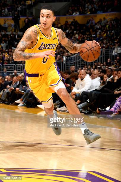 Kyle Kuzma of the Los Angeles Lakers handles the ball against the Chicago Bulls on January 15 2019 at STAPLES Center in Los Angeles California NOTE...