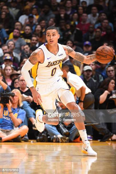 Kyle Kuzma of the Los Angeles Lakers handles the ball against the Memphis Grizzlies on November 5 2017 at STAPLES Center in Los Angeles California...