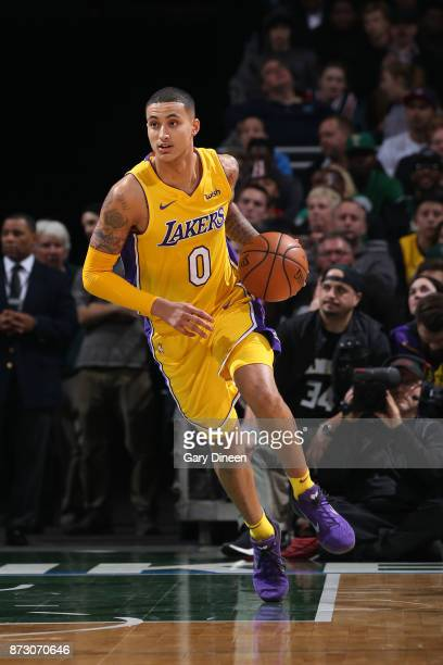 Kyle Kuzma of the Los Angeles Lakers handles the ball against the Milwaukee Bucks on November 11 2017 at the BMO Harris Bradley Center in Milwaukee...