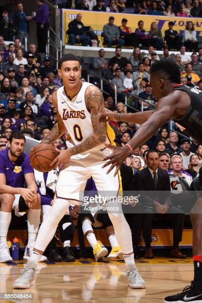 Kyle Kuzma of the Los Angeles Lakers handles the ball against the Houston Rockets on December 3 2017 at STAPLES Center in Los Angeles California NOTE...