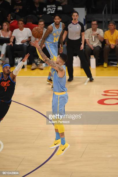 Kyle Kuzma of the Los Angeles Lakers handles the ball against the Oklahoma City Thunder on January 3 2018 at STAPLES Center in Los Angeles California...