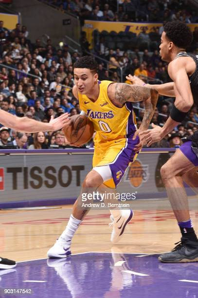 Kyle Kuzma of the Los Angeles Lakers handles the ball against the Sacramento Kings on January 9 2018 at STAPLES Center in Los Angeles California NOTE...