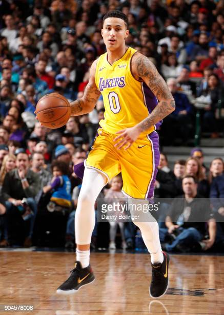 Kyle Kuzma of the Los Angeles Lakers handles the ball against the Dallas Mavericks on January 13 2018 at the American Airlines Center in Dallas Texas...