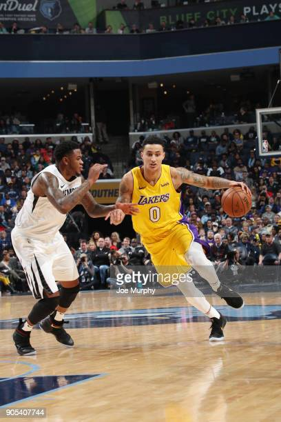 Kyle Kuzma of the Los Angeles Lakers handles the ball against the Memphis Grizzlies on January 15 2018 at FedExForum in Memphis Tennessee NOTE TO...