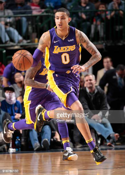 Kyle Kuzma of the Los Angeles Lakers handles the ball against the Dallas Mavericks on February 10 2018 at the American Airlines Center in Dallas...