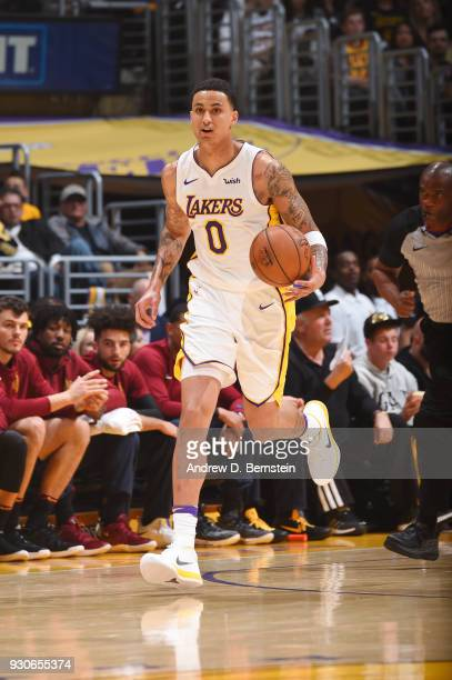 Kyle Kuzma of the Los Angeles Lakers handles the ball against the Cleveland Cavaliers on March 11 2018 at STAPLES Center in Los Angeles California...