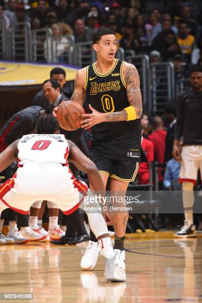 Kyle Kuzma of the Los Angeles Lakers handles the ball against the Miami Heat on March 16 2018 at STAPLES Center in Los Angeles California NOTE TO...