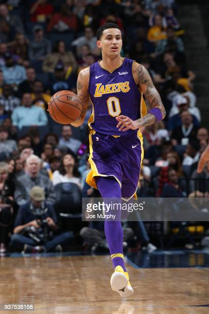 Kyle Kuzma of the Los Angeles Lakers handles the ball against the Memphis Grizzlies on March 24 2018 at FedExForum in Memphis Tennessee NOTE TO USER...