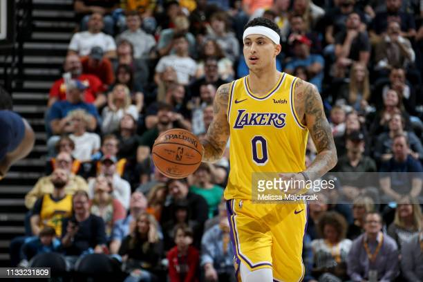 Kyle Kuzma of the Los Angeles Lakers handles the ball during the game against the Utah Jazz on March 27 2019 at vivintSmartHome Arena in Salt Lake...