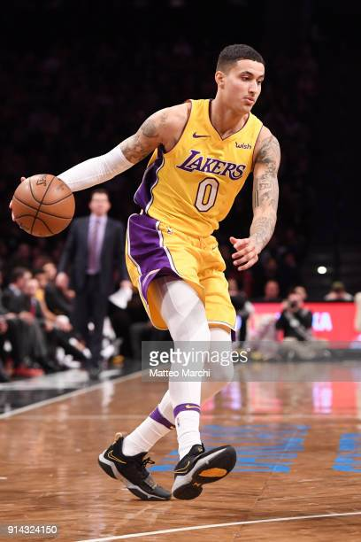 Kyle Kuzma of the Los Angeles Lakers handles the ball during the game against the Brooklyn Nets at Barclays Center on February 2 2018 in Brooklyn New...