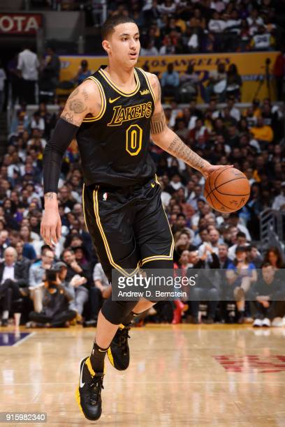 Kyle Kuzma of the Los Angeles Lakers handles the ball during the game against the Oklahoma City Thunder on February 8 2018 at STAPLES Center in Los...