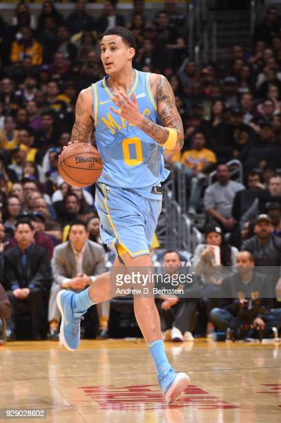 Kyle Kuzma of the Los Angeles Lakers handles the ball during the game against the Orlando Magic at STAPLES Center on March 7 2017 in Los Angeles...