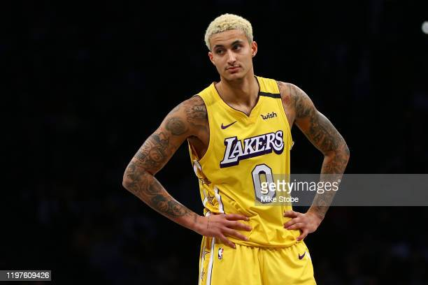 Kyle Kuzma of the Los Angeles Lakers in action against the Brooklyn Nets at Barclays Center on January 23 2020 in New York City NOTE TO USER User...