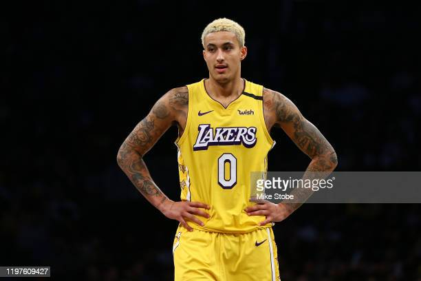 Kyle Kuzma of the Los Angeles Lakers in action against the Brooklyn Nets at Barclays Center on January 23, 2020 in New York City. NOTE TO USER: User...