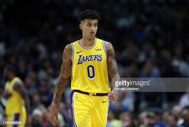 Kyle Kuzma of the Los Angeles Lakers in the second quarter at American Airlines Center on November 01 2019 in Dallas Texas NOTE TO USER User...