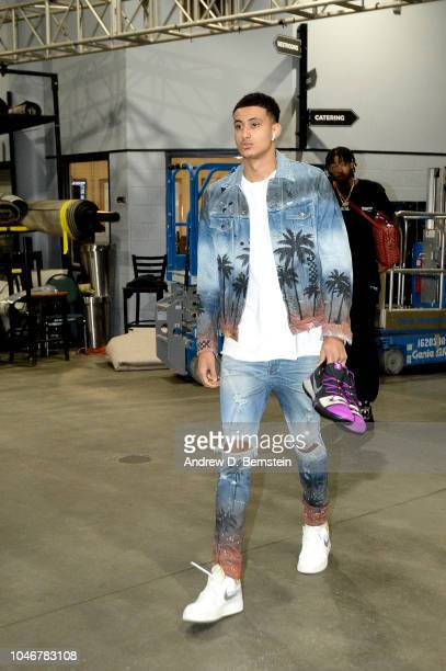 Kyle Kuzma of the Los Angeles Lakers is seen arriving before the game against the LA Clippers on October 6 2018 at Honda Center in Anaheim California...