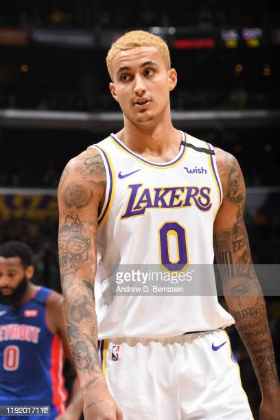 Kyle Kuzma of the Los Angeles Lakers looks on during the game against the Detroit Pistons on January 5, 2020 at STAPLES Center in Los Angeles,...
