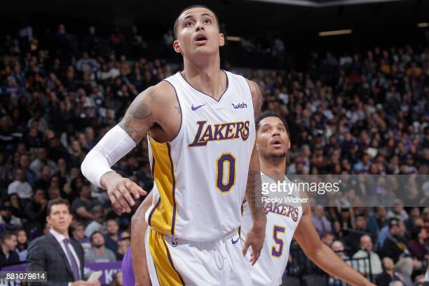 Kyle Kuzma of the Los Angeles Lakers looks on during the game against the Sacramento Kings on November 22 2017 at Golden 1 Center in Sacramento...