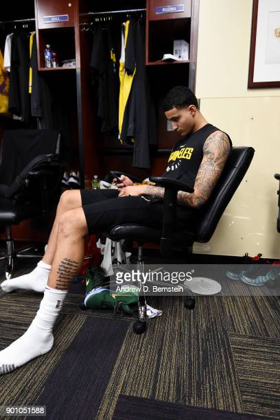 Kyle Kuzma of the Los Angeles Lakers looks on in the locker room prior to the game against the Minnesota Timberwolves on December 25 2017 at STAPLES...