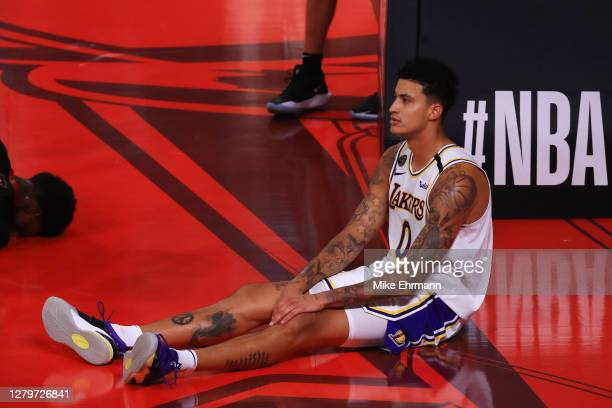 Kyle Kuzma of the Los Angeles Lakers on the court during the fourth quarter against the Miami Heat in Game Six of the 2020 NBA Finals at AdventHealth...