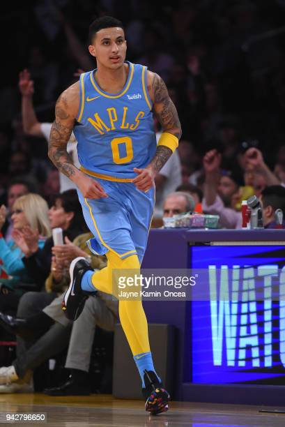 Kyle Kuzma of the Los Angeles Lakers on the court during the game against the San Antonio Spurs at Staples Center on April 4 2018 in Los Angeles...