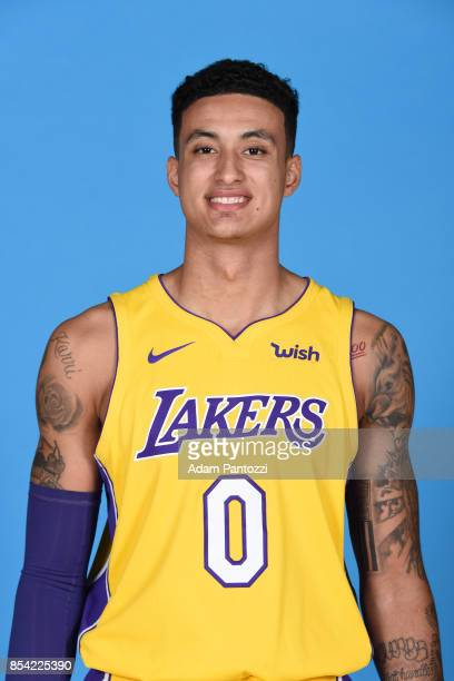 Kyle Kuzma of the Los Angeles Lakers poses for a head shot during media day at UCLA Health Training Center on September 25 2017 in El Segundo...
