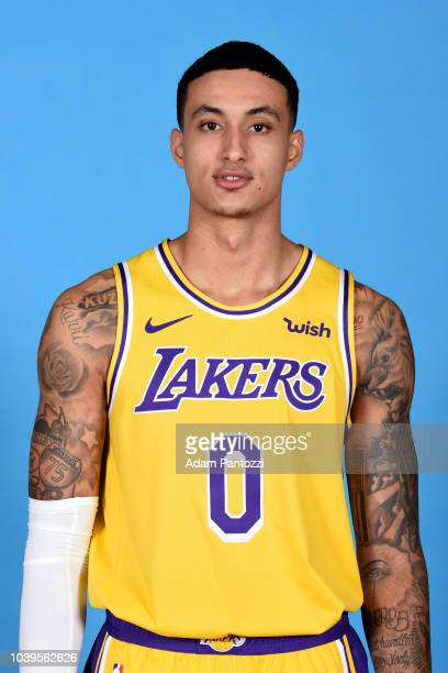 Kyle Kuzma of the Los Angeles Lakers poses for a headshot during media day at UCLA Health Training Center on September 24 2018 in El Segundo...