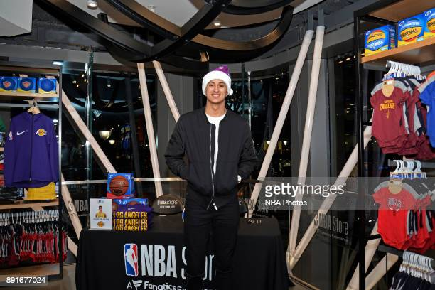 Kyle Kuzma of the Los Angeles Lakers poses for a photo at the NBA Store signing on December 11 2017 at The NBA Store in New York New York NOTE TO...